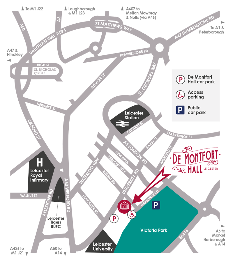 Getting to De Montfort Hall - map